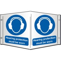 Hearing Protection Must Be Worn Projecting 3D Signs