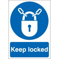 Keep locked mandatory health & safety signs