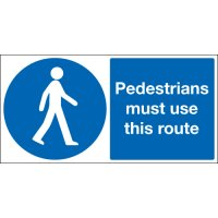 Pedestrians Must Use This Route Stanchion Signs
