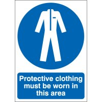 Protective clothing must be worn' PPE workplace safety signs