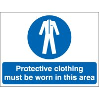 Protective Clothing Must Be Worn... Stanchion Signs