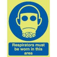 Respirators Must Be Worn... Photoluminescent Signs