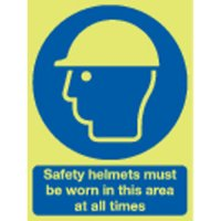 Safety Helmets Must Be Worn... Photoluminescent Signs