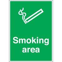 Aluminium, Plastic and Vinyl Smoking Area Signs