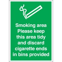 Smoking Area Signs Displaying 'Please Keep This Area Tidy' Message
