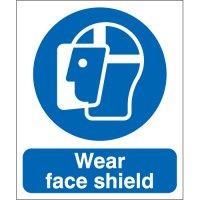 Rigid Plastic or Vinyl 'Wear Face Shield' Signs