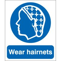 Plastic And Vinyl Signs With 'Wear Hairnets' Message