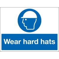 Wear Hard Hats Stanchion Signs