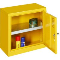 Bright yellow mini storage cabinets for flammable liquids