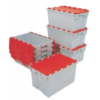 Stackable Plastic Container with Attached Lid and Label Holders