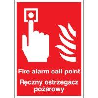 Fire Alarm Call Point... English/Polish Signs