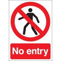 Vinyl, Plastic And Aluminium No Entry Signs