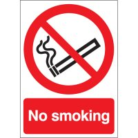 Plastic or vinyl 'no smoking' sign