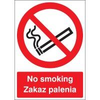 No smoking'/'zakaz pelenia' Polish/English bilingual safety signs