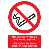 'It is Against the Law to Smoke…' Sign with English and Welsh Text