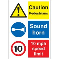 Caution Pedestrians, 10Mph... Multi-Message Signs