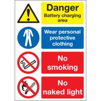Danger Battery Charging Area... Multi-Message Signs