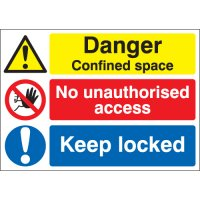 Danger Confined Space... Multi-Message Stanchion Signs