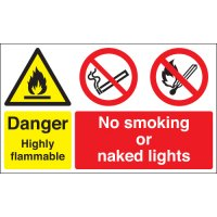 Danger Highly Flammable... Multi-Message Stanchion Signs