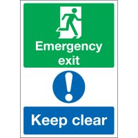 Emergency Exit & Keep Clear Multi-Message Signs