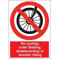 Warning Signs With 'No cycling, roller blading, skateboarding or scooter riding' Message