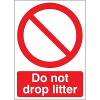 "Durable Red and White Plastic ""Do Not Drop Litter"" Signs"