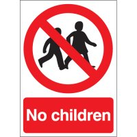 Bold red 'no children' safety signs