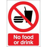 Rigid Plastic Or Vinyl No Food Or Drink Signs