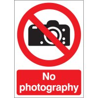 Clear 'No Photography' Prohibition Health & Safety Signs