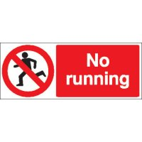 Double-sided rigid plastic 'no running' corridor signs