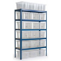 Durable Steel Storage Shelves with Plastic Boxes