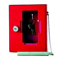 Bright Red Emergency Key Box with Hammer & Chain