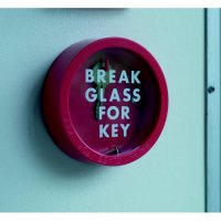 Spare printed glass cover for circular emergency key box