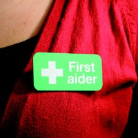 Strong Plastic And Metal First Aider Badge