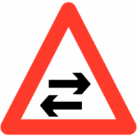 Traffic Signs - Two-way Traffic Crosses One-way Road