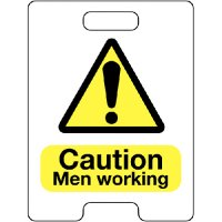 Caution Men Working Temporary Floor Stand