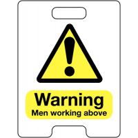 Warning Men Working Above Temporary Floor Stand