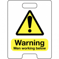 Caution Men Working Below Temporary Floor Stand