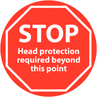 Anti-Slip Floor Signs - STOP Head Protection Required