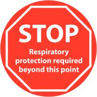 Anti-slip respiratory protection required floor signage