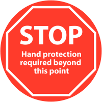 Floor Mounted 'STOP Hand Protection Required' Sign