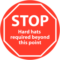 Anti-slip hard hats required floor sign