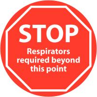 Anti-Slip 'STOP Respirators Required' Floor Signs