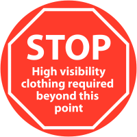 'STOP High Visibility Clothing Required' Anti-Slip Floor Sign