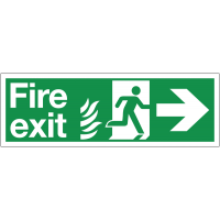 Dual-Symbol Fire Exit Sign with Right Arrow for NHS Estates