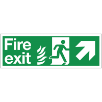 Dual-Symbol Fire Exit Sign with Right-Up Diagonal Arrow for NHS Buildings