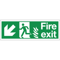 Dual-Symbol Fire Exit Signs with Diagonal Left-Down Arrow for NHS Settings