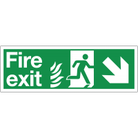 Diagonal Right-Down Arrow Fire Exit Sign with Double Symbols for NHS Use