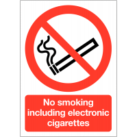 Prominent 'No smoking including electronic cigarettes' tabletop signs