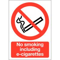 Gloss Finish 'No Smoking Including E-cigarettes' Tabletop Sign